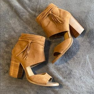 Heeled ankle booties with tassels